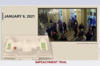 Security footage from inside the Capitol. The red dot on the model shows the rioters outside the Senate chamber.