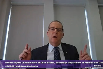 Chris Eccles, who was secretary of the Department of Premier and Cabinet, testifies to the Coate inquiry.