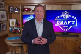 NFL Commissioner Roger Goodell announced draft picks from his basement.