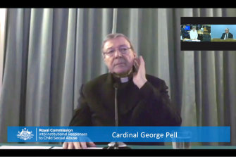 Cardinal Pell gave evidence to the royal commission via videolink from Rome.
