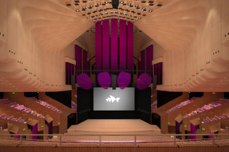 A render of the completed renovation of the Concert Hall at the Sydney Opera House.