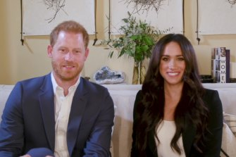 Meghan and Harry during the Time100 Talk webcast, which they filmed from their Californian home.