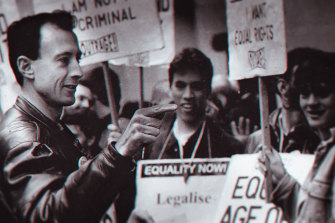 Peter Tatchell with supporters in a scene from the documentary.