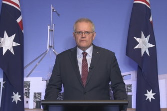 Prime Minister Scott Morrison speaking after Monday night's national cabinet meeting.