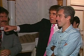 Donald Trump and Jeffrey Epstein at Trump's Mar-a-Lago resort in 1992.