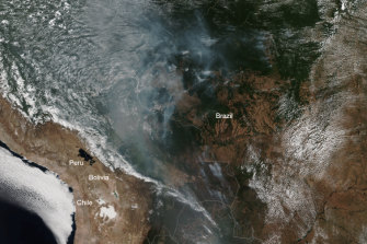 This true-colour image, published on August 13, was captured by the VIIRS sensor onboard NOAA-20. The smoke from the Amazonian fires can be clearly seen.