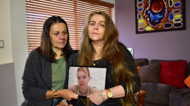 Ms Taylor's mother Courtney (right) and aunt Leanne (left) speak to media on Tuesday morning.