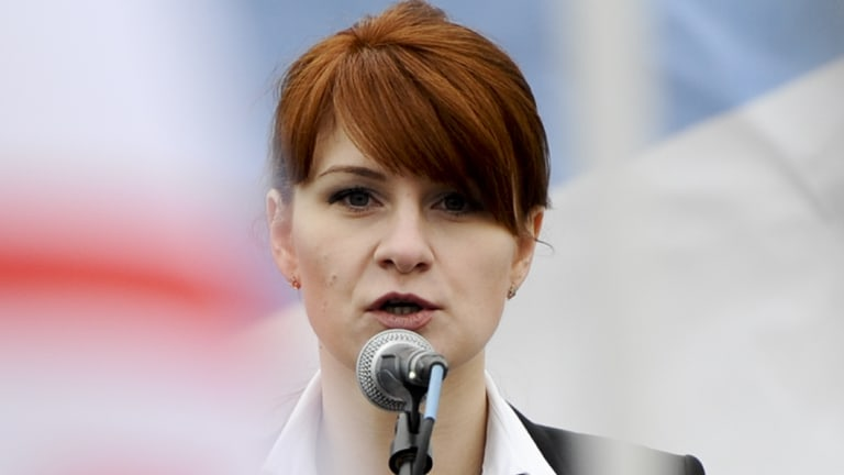 Maria Butina, leader of a pro-gun organisation in Russia, speaks to a crowd during a rally in support of legalising the possession of handguns in Moscow, Russia.
