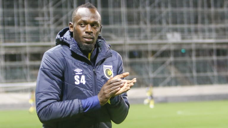 Testing times: retired track great Usain Bolt is still hoping to make it in professional soccer with the Mariners.