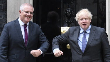 Prime Minister Scott Morrison with British Prime Minister Boris Johnson in London on Monday.