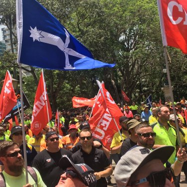 A sea of high-vis descended on Queensland Parliament House protesting Cross River Rail.