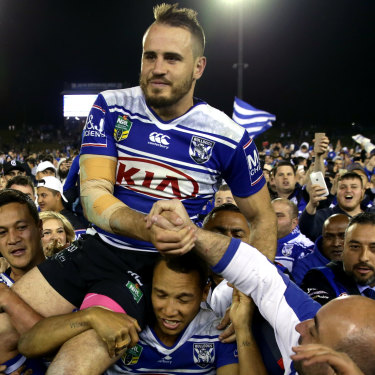 Josh Reynolds carried out of Belmore in his last game for the Bulldogs before joining the Tigers.