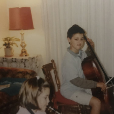James Blatch at 12 learning the cello.