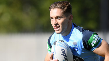 Ready to go: Cameron Murray takes part in Blues training in Sydney.