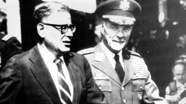 US defence secretary Harold Brown with recently retired NATO commander General Alexander M. Haig in 1979.