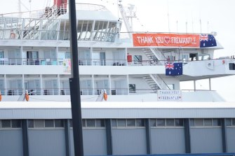 A sign hanging from the Artania cruise ship on Saturday reads 'Thank you Fremantle'.