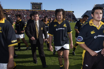 Tana Umaga, right, and coach Dave Rennie during their time with Wellington.