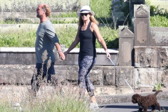Deborah Hutton and Bondi meditation guru Andrew Marsh out walking.