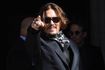 Johnny Depp, pictured outside court on Monday, has strongly denied abusing Heard.