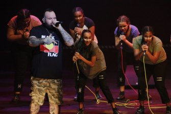 Rapper Briggs on stage for Spinifex Gum at the Sydney Opera House.