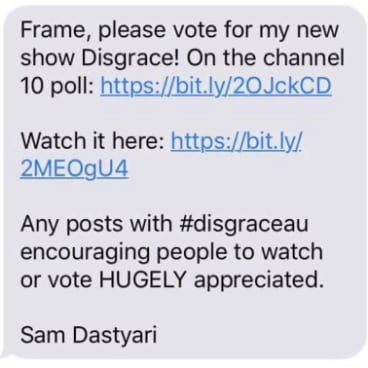 This is the text message Sam Dastyari sent to his friends, including former Labor colleagues.