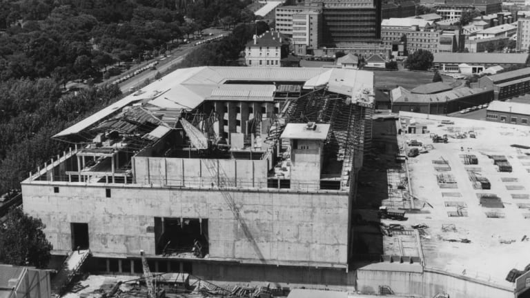 View of the construction at the NGV in 1967.