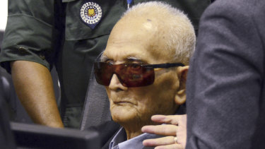 Nuon Chea, who was the Khmer Rouge's chief ideologist and No. 2 leader, at the hearing where he was found guilty.