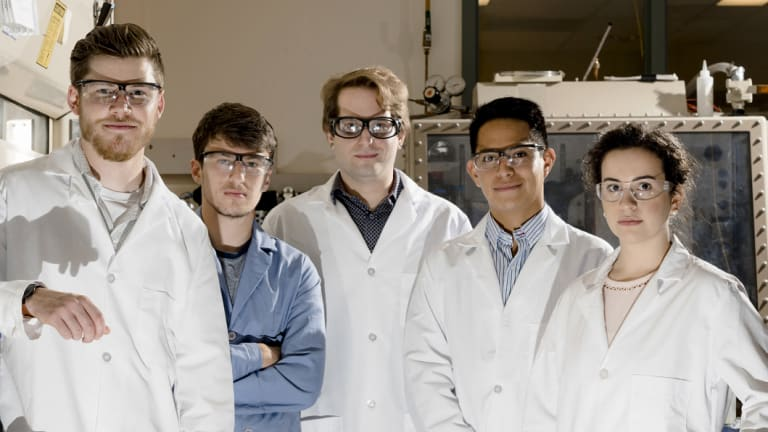 Fighting the plastic war: from left, University of Illinois Urbana-Champaign scientists Evan Lloyd, Oleg Davydovich, Adam Feinberg, Edgar Mejia and Sydney Butikofer.