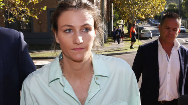 Harriet Wran leaves Wyong Local Court on Wednesday.