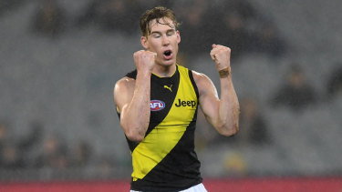 Raining goals: Richmond forward Tom Lynch celebrates after adding to his tally against Melbourne.