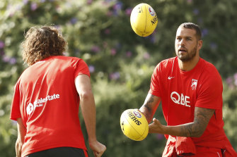 Lance Franklin at a Swans training session on Friday. He will be back in action on Saturday against Melbourne.