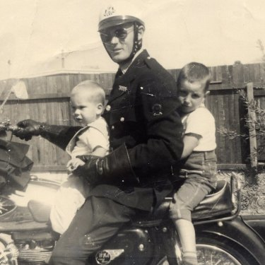 Tim Winton (at rear) with brother Michael and father John in Karrinyup, north Perth, circa 1965, not long before his father's accident.