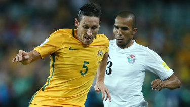 Old foe: Mark Milligan and Jordan's Yaseen Bakheet battle for the ball during their World Cup qualifying match in Sydney in 2016.