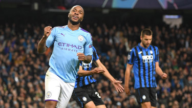Star striker Raheem Sterling celebrates scoring for Manchester City against Atalanta in the Champions League.