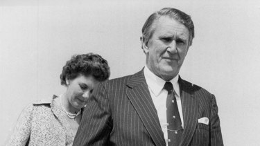 Prime Minister Mr. Malcolm Fraser and Mrs. Fraser arrive back at Fairbairn R.A.A.F. base after their overseas trip, February 12, 1980.