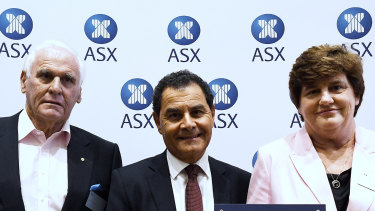 Next Science's major shareholder, Lang Walker, with chairman George Savvides and CEO Judith Mitchell.