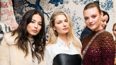 Jessica Gomes, Jessica Hart and Montana Cox at the Dior cocktail launch for its Couture Cruise 2019 Collection on Wednesday.