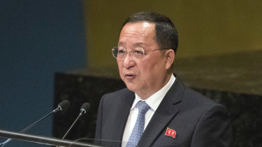 North Korean Foreign Minister Ri Yong-ho addresses the 73rd session of the United Nations General Assembly on Saturday.