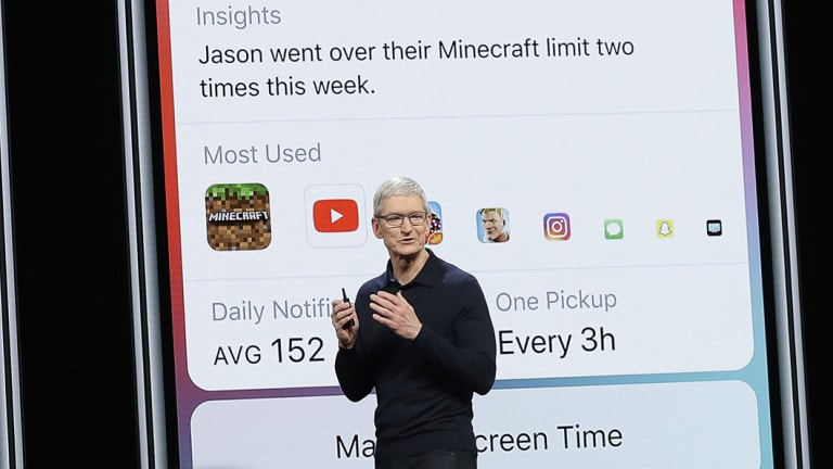 Apple CEO Tim Cook explains the new iOS 'Screen Time' feature at the World Wide Developers Conference in California on Monday.