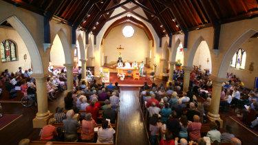 The scene inside St. Joseph's Church, Collingwood, in 1997, when Father Ernie Smith retired.
