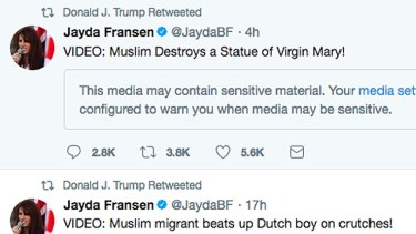 This screenshot from President Donald Trump's Twitter account shows retweets that he posted last November from the account of Jayda Fransen.