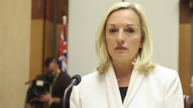 Christine Holgate addresses a hearing at Parliament in April.
