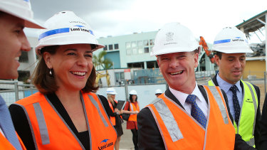 Deb Frecklington with then Queensland Premier Campbell Newman in 2014, when she was an assistant minister.