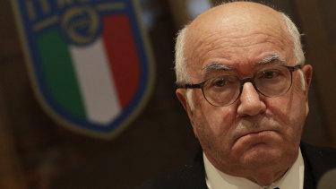 Italian football federation president Carlo Tavecchio gives a press conference.