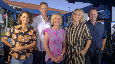 The Today show hosts at Melbourne park on Saturday.