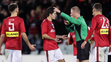 Sydney United finished a man down after Yianni Perkatis was handed a red card.