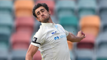 One final effort ... Mitchell Starc will have four weeks off after the Sheffield Shield final.
