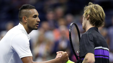 Anticlimax: Kyrgios bows out to the unseeded Russian.