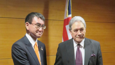 Japan's Foreign Minister Taro Kono, left,  with his counterpart Winston Peters in Wellington on Monday.