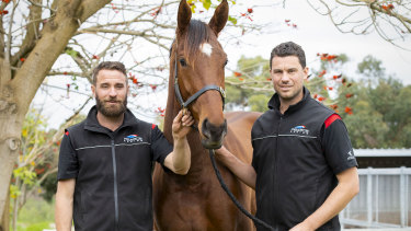 Brothers Dan and Ben Pearce with Dig Deep, who will run this Saturday at Ascot.